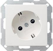 GIRA wandcontactdoos randaarde kindveilig 30 graden gedraaid Systeem 55 wit glans (041803)