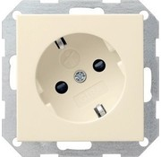 GIRA wandcontactdoos randaarde kindveilig 30 graden gedraaid Systeem 55 creme glans (041801)