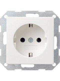 GIRA wandcontactdoos randaarde Systeem 55 wit glans (046603)