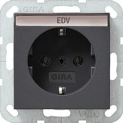 GIRA wandcontactdoos randaarde tekstkader Systeem 55 antraciet mat (045728)