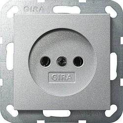 GIRA wandcontactdoos zonder randaarde Systeem 55 aluminium mat (048026)