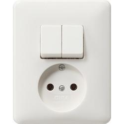 GIRA combinatie serieschakelaar en wandcontactdoos zonder randaarde Systeem 55 wit mat (047504)