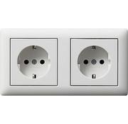 GIRA wandcontactdoos randaarde set 2-voudig compleet voorbedraad Systeem 55 wit mat (079304)