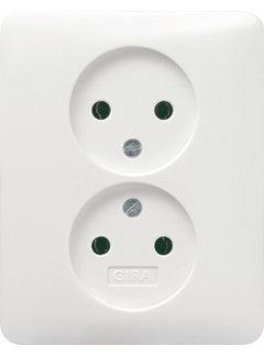 GIRA wandcontactdoos zonder randaarde 2-voudig voor enkele inbouwdoos Systeem 55 wit mat (079804)
