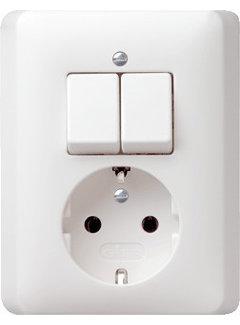 GIRA combinatie serieschakelaar en wandcontactdoos randaarde Systeem 55 wit mat (017504)