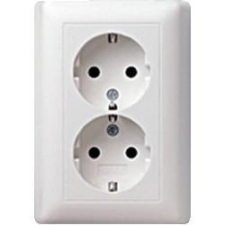 GIRA wandcontactdoos randaarde 2-voudig voor anderhalve inbouwdoos Systeem 55 wit mat (078204)