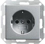 GIRA wandcontactdoos randaarde Systeem 55 aluminium mat (046626)