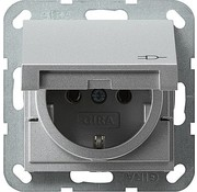GIRA wandcontactdoos randaarde klapdeksel Systeem 55 aluminium mat (045426)