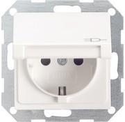 GIRA wandcontactdoos randaarde klapdeksel Systeem 55 wit mat (045427)