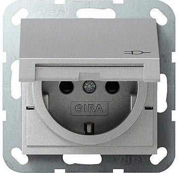GIRA wandcontactdoos randaarde kindveilig klapdeksel Systeem 55 aluminium mat (041426)