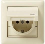 GIRA wandcontactdoos randaarde klapdeksel IP44 compleet Systeem 55 creme glans (115701)