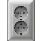 GIRA wandcontactdoos randaarde kindveilig 2-voudig voor enkele inbouwdoos Systeem 55 aluminium mat (078326)