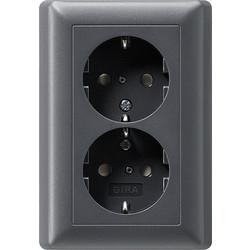 GIRA wandcontactdoos randaarde kindveilig 2-voudig voor enkele inbouwdoos Systeem 55 antraciet mat (078328)