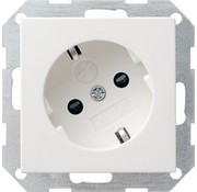 GIRA wandcontactdoos randaarde kindveilig 30 graden gedraaid Systeem 55 wit mat (041827)