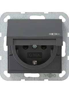 GIRA wandcontactdoos randaarde kindveilig klapdeksel Systeem 55 antraciet mat (041428)