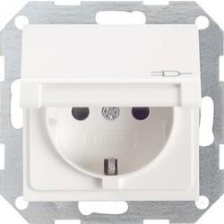 GIRA wandcontactdoos randaarde kindveilig klapdeksel Systeem 55 wit mat (041427)