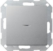 GIRA drukvlakschakelaar controleverlichting 2-polig Systeem 55 aluminium mat (012226)