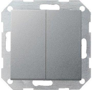 GIRA drukvlakschakelaar wissel-wisselschakelaar Systeem 55 aluminium mat (012826)