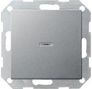 GIRA drukvlakschakelaar controleverlichting 1-polig Systeem 55 aluminium mat (013626)