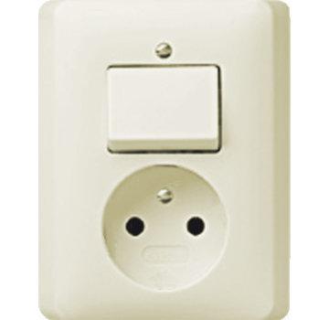 GIRA combinatie schakelaar en wandcontactdoos zonder randaarde Systeem 55 creme glans (047601)
