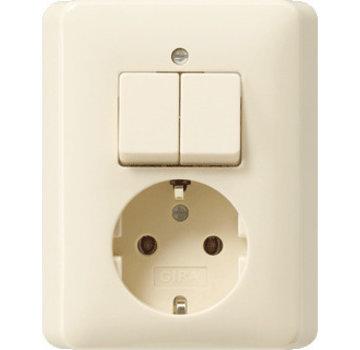 GIRA combinatie serieschakelaar en wandcontactdoos randaarde Systeem 55 creme glans (017501)