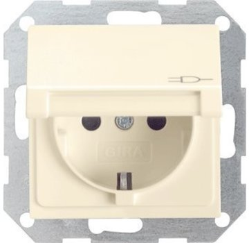 GIRA wandcontactdoos randaarde klapdeksel Systeem 55 creme glans (045401)