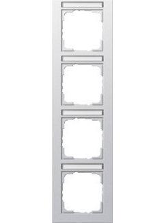 GIRA afdekraam 4-voudig verticaal tekstkader E2 aluminium mat (111425)