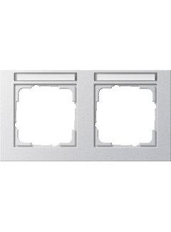 GIRA afdekraam 2-voudig horizontaal tekstkader E2 aluminium mat (109225)