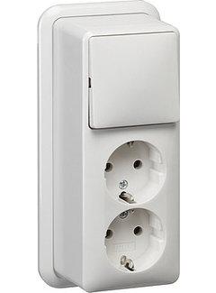 GIRA combinatie schakelaar en wandcontactdoos 2-voudig randaarde opbouw wit (018611)