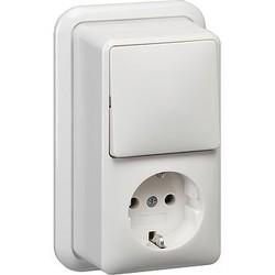 GIRA combinatie schakelaar en wandcontactdoos randaarde opbouw wit (017611)