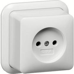 GIRA wandcontactdoos zonder randaarde opbouw wit (047011)