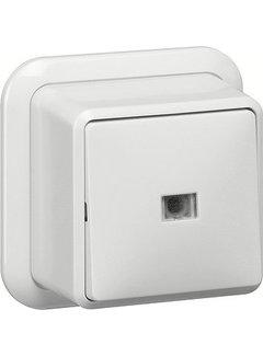 GIRA pulsdrukker maakcontact 1-polig met apart meldcontact opbouw wit (015211)