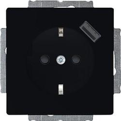 Busch-Jaeger wandcontactdoos met randaarde en USB 5V Future Linear zwart mat (20 EUCBUSB-885)