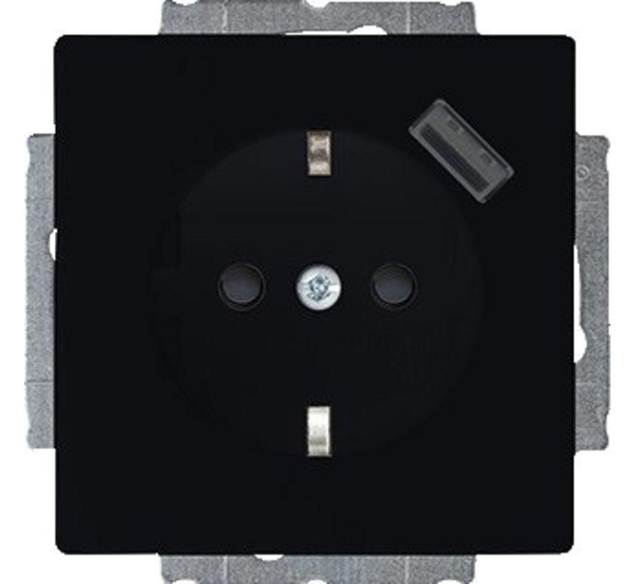 Future Linear wandcontactdoos met randaarde en USB 5V zwart mat