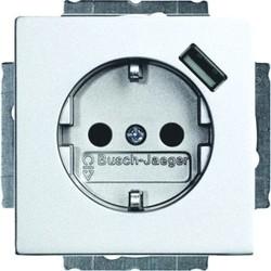 Busch-Jaeger wandcontactdoos met randaarde en USB 5V Future Linear aluminium mat