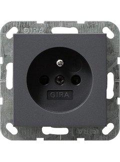 GIRA wandcontactdoos randaarde aardingspen (Belgie) Systeem 55 antraciet mat (048528)