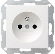 GIRA wandcontactdoos randaarde aardingspen (Belgie) Systeem 55 wit mat (048527)