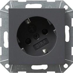 GIRA wandcontactdoos randaarde kindveilig 30 graden gedraaid Systeem 55 antraciet mat (041828)