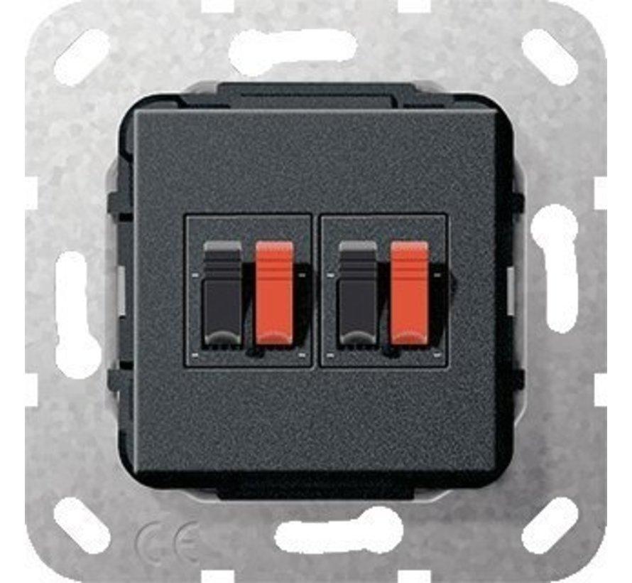 luidsprekeraansluiting tweevoudig zwart mat (569310)