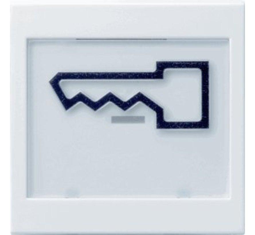 schakelwip tekstkader groot symbool deur Systeem 55 wit mat (021827)