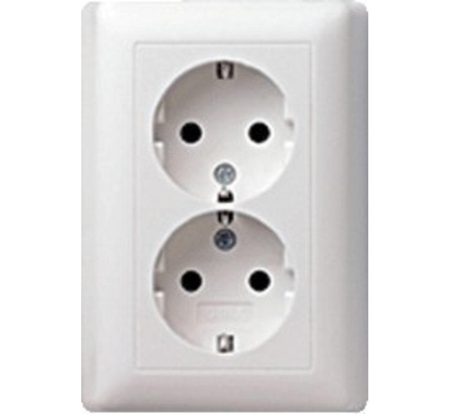 wandcontactdoos randaarde 2-voudig voor enkele inbouwdoos Systeem 55 wit glans (078803)