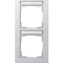 GIRA afdekraam 2-voudig verticaal tekstkader E2 aluminium mat (110225)