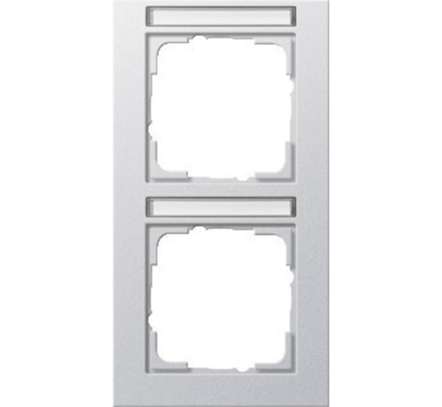afdekraam 2-voudig verticaal tekstkader E2 aluminium mat (110225)