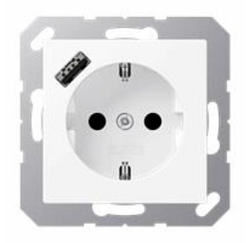 JUNG wandcontactdoos 1V randaarde met USB-A mat wit (A 1520-18 A WWM)