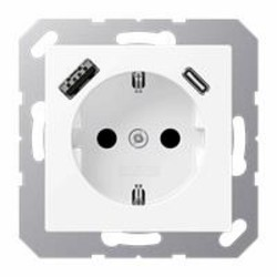 JUNG wandcontactdoos randaarde met USB type C en A aansluiting A-range alpine wit mat (A 1520-15 CA WWM)