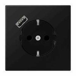 JUNG wandcontactdoos 1V randaarde met USB-A LS990 grafietzwart mat (LS 1520-18 A SWM)