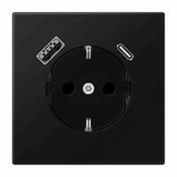 JUNG wandcontactdoos 1V randaarde met USB type A en C LS990 grafietzwart mat (LS 1520-15 CA SWM)