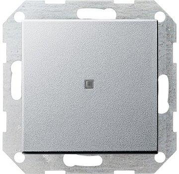 GIRA drukvlakschakelaar rechtstaand controleverlichting 1-polig Systeem 55 aluminium mat (012426)