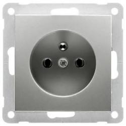 PEHA wandcontactdoos aardingspen Belgie kindveilig Badora aluminium (11.6671.70 SI)
