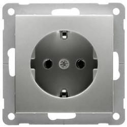PEHA wandcontactdoos randaarde kindveilig Badora aluminium (11.6611.70 SI)